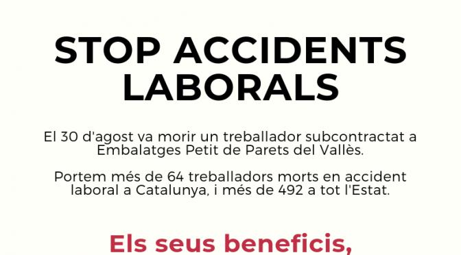 CNT convoca concentració contra sinistralitat laboral divendres a Parets