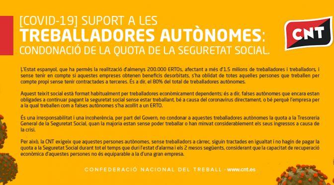 Suport a les treballadores autònomes: condonació de la quota de la Seguretat Social