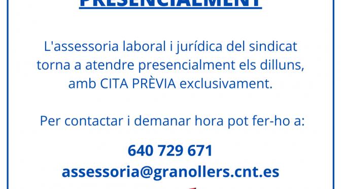 Torna l'assessoria laboral i jurídica de forma presencial